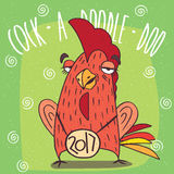 Drunken cock or rooster has covered eyes. Cartoon drunken cock or rooster with the logo 2017, stands and has covered eyes on green background. Cock a doodle doo Stock Photography