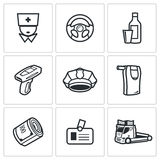 Drunken driving icons set. Vector Illustration. Royalty Free Stock Photography