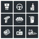 Drunken driving icons set. Vector Illustration. Stock Photo