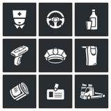 Drunken driving icons set. Vector Illustration. Stock Photo