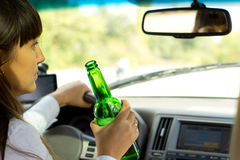 Drunken female driver Royalty Free Stock Images