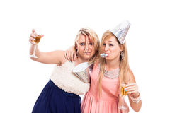 Drunken girls celebrate Stock Photos
