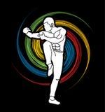 Drunken Kung fu pose. Illustration graphic vector Stock Images