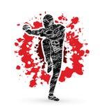 Drunken Kung fu pose. Illustration graphic vector Royalty Free Stock Image
