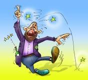 Drunken man. Cartoon drawing of a drunken man Stock Photography