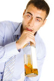 Drunken man passed out from drinking alcohol. Stock Photography