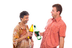 Drunken men with bottle of alcohol Royalty Free Stock Photos