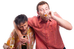 Drunken men drinking alcohol Royalty Free Stock Image