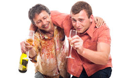 Drunken men drinking alcohol royalty free stock images