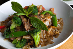 Drunken Noodle with Beef Stock Image