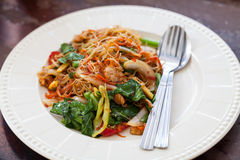 Drunken noodles fried pork Stock Images