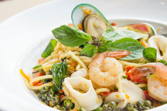 The drunken noodles seafood spaghetti. Food taste of Thailand Stock Photo