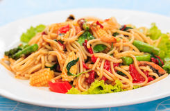 The drunken noodles seafood spaghetti. Stock Images