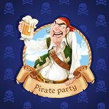 Drunken pirate with a beer. Banner for Pirate party Royalty Free Stock Image