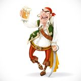 Drunken pirate with a glass of beer is based on the sword Stock Image