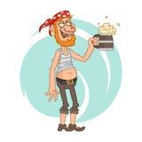 Drunken pirate holding mug of beer Royalty Free Stock Photo