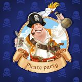 Drunken pirate with parrot sitting on a hat. Banner for Pirate p Royalty Free Stock Photography