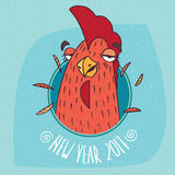 Drunken rooster has covered eyes in round frame. Cartoon drunken cock or rooster has covered eyes in round frame on blue background. New Year 2017 lettering Royalty Free Stock Photography