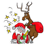 Drunken Santa Claus sleeps. deer carries a bag. Royalty Free Stock Photo