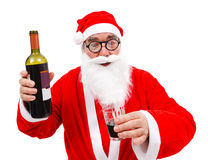 Drunken Santa Claus with wine bottle Royalty Free Stock Photos