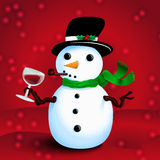 Drunken Snowman. Printable Christmas and New Year greeting card.  Drunken snowman drinking wine Stock Images