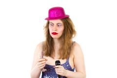 Drunken woman afraid of singing something Royalty Free Stock Photos