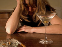 Drunken woman crying, alone Royalty Free Stock Photography