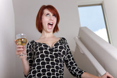 Drunken Women Sings Stock Images