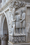 Drunkenness of Noah - architectural detail of column at Doge's Palace, Venice, Italy Stock Image