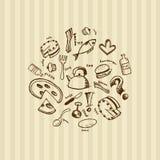 drunkna enkla mathandsymboler Arkivfoto