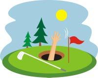 Drunknat i ett golfhål Royaltyfri Foto