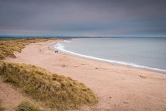 Druridge Bay Beach. Druridge Bay is a seven mile long beach in Northumberland between Amble to the north and Cresswell to the south Royalty Free Stock Image