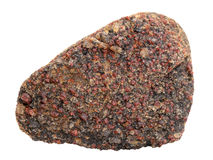 Druse of almandine garnet crystals on the broken granite-gneiss boulder on white background. Natural specimen of almandine garnet crystals druse on the broken stock photo