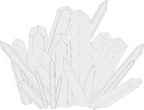 Druse of quartz crystals. Vector illustration of druses of crystals on a white background Stock Photos
