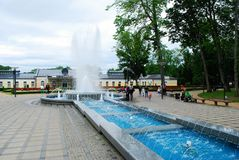 Druskininkai är en brunnsortstad på den Neman floden i sydliga Litauen Fotografering för Bildbyråer