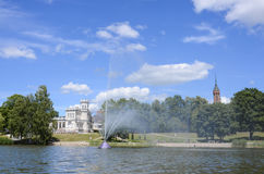 Druskininkai city. Lithuania, Druskininkai. view of the city from the lake Druskonis on a sunny day Stock Image