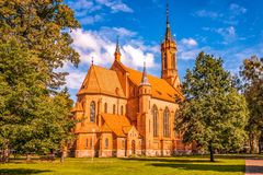 Druskininkai, Litu?nia, o 26 de julho de 2018: Igreja Cat?lica em Druskininkai, Litu?nia foto de stock royalty free