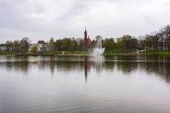 Druskonis湖看法在Druskinenkai立陶宛和emban 免版税图库摄影