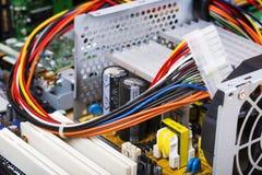 Druty, komputerowi kable, procesor, komputer Obraz Royalty Free