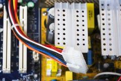 Druty, komputerowi kable, procesor, komputer Zdjęcie Royalty Free
