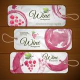 Druva- eller vinbegreppsdesign ställ in etiketter vektor illustrationer