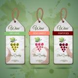 Druva- eller vinbegreppsdesign ställ in etiketter royaltyfri illustrationer