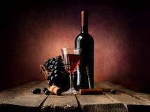 Druva i korg med vin royaltyfri bild