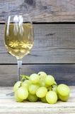Druva med ett exponeringsglas av vin Arkivbild
