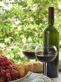Druva-, wine- och brödAlFresco Royaltyfria Bilder