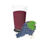 Druvafruktsaft och druvor, kopp, vektor, illustration som isoleras på vit bakgrund Arkivfoton