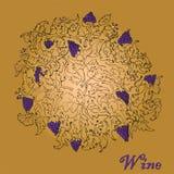 Druvavinranka med grupper av druvor royaltyfri illustrationer