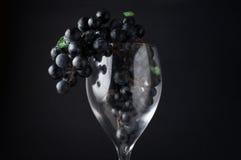 Druvor i rött vinexponeringsglas som över hänger mot mörk bakgrund Arkivbilder