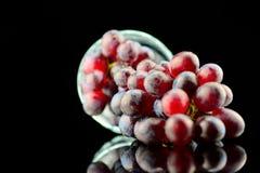 Druvor och wineexponeringsglas Arkivbild