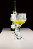 Druvor och wineexponeringsglas Arkivfoto